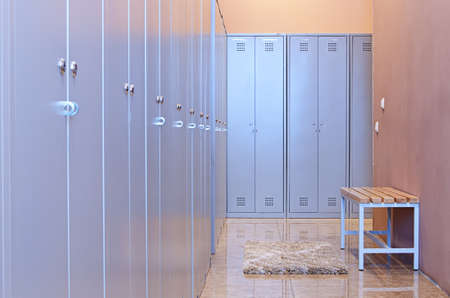 Gym dressing room with lots of lockers