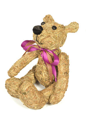 handmade Teddy Bear hay isolated on white background