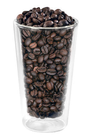 Glass filled with coffee beans on a white background
