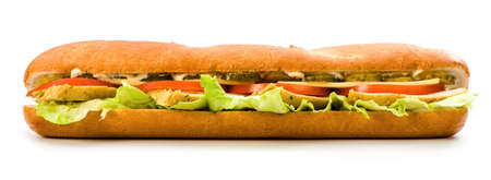 Baguette stuffed with chicken and vegetables on a white background.