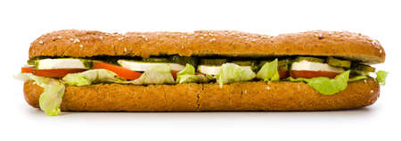 Sandwich with feta cheese on white background.