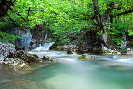 Waterfall in the Crimean Mountains