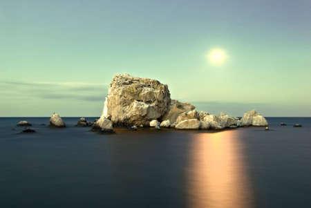 great lakes: Sea moonlight on the island Stock Photo