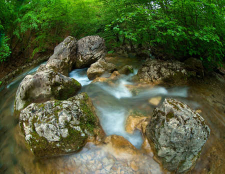Stones and montain river photo