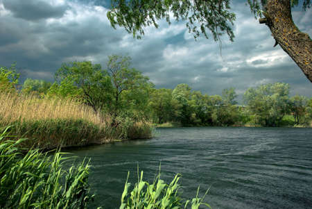 Strong wind on a river photo