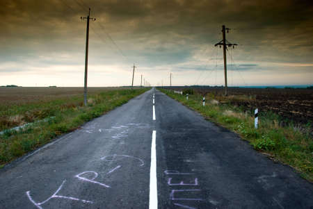 vanish: Road in middle of rural area to evening
