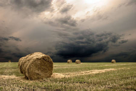 rebelling: Haystack on the meadow with the dramatic sky Stock Photo