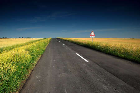 Long road stretching out into the wheat fields Stock Photo