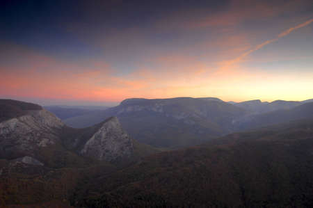 Sunrise in high mountains