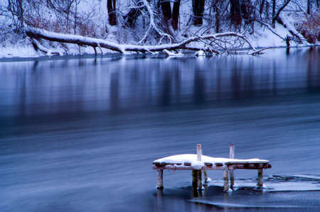 frozen lake: Winter bridge on a river