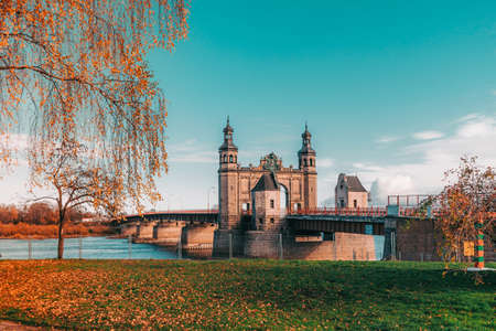 Sovetsk, Kaliningrad region. The bridge of Queen Louise across the Niemen river separating Russia and Lithuania. State border of Russia