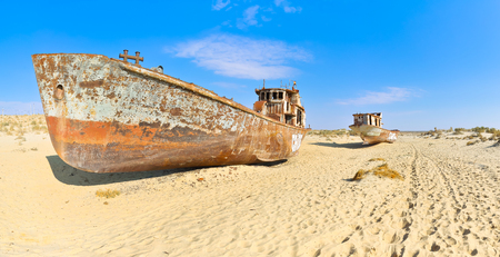 old ship: Panorama. Two old ship in the Aral desert.