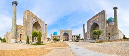 registan: Panorama Registan Square with three madrasahs in Samarkand.