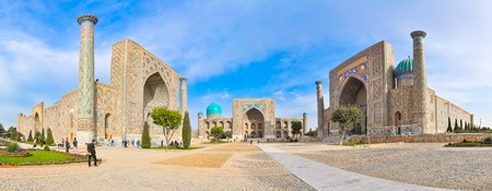 registan: Panorama famous Registan Square in the ancient city Samarkand. Editorial