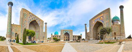 registan: Facades of the three madrasahs on Registan Square in Samarkand.
