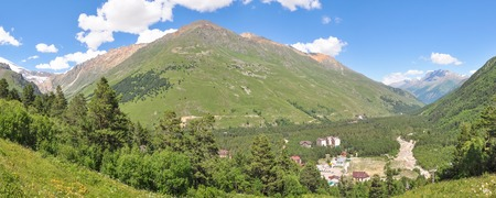 Panorama. Small settlement in a mountain valley.