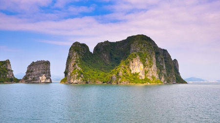 halong: One of the most beautiful rocky islands in Halong Bay. Stock Photo