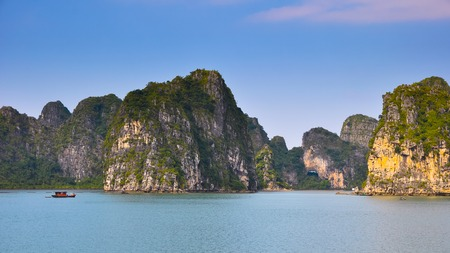 halong: Magnificent landscape of rocky islands in Halong Bay.