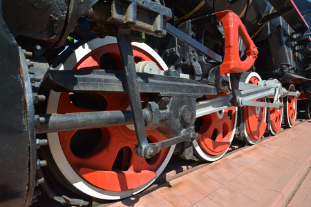 Drive mechanism of the wheels of an old steam locomotive.