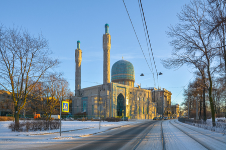 View of the cathedral mosque in St. Petersburg. Stock Photo