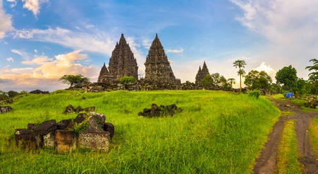 Mysterious temple complex of Prambanan, Java Island, Indonesia.