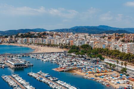 Panoramic aerial view of Blanes in Costa Brava in a beautiful summer day. Spain