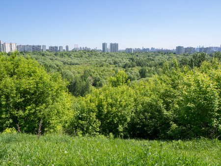 View of Moscow from the edge of the Shodnensky ravine 免版税图像
