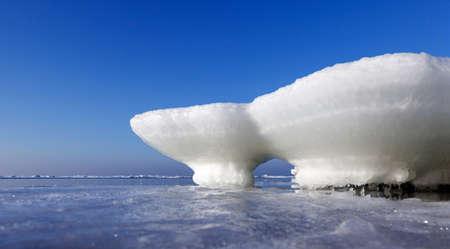 ice floes: frozen waterbreak in winter on the Baltic sea Stock Photo