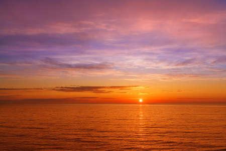 orange sunset: fantastic orange sunset over the sea