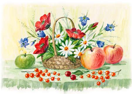 デイジー、ポピーやヤグルマギク、フルーツ果実の静物。水彩イラスト