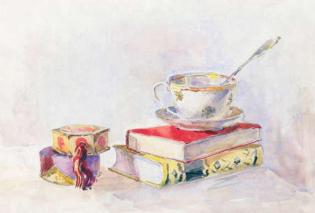life style: Still life in retro style. Two books tea Cup and powder box. watercolor painting. Illustration