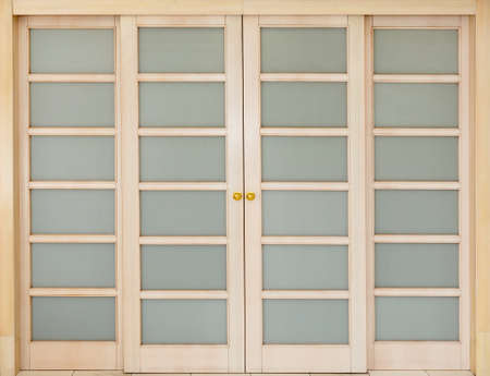 inserts: wooden sliding door with glass inserts