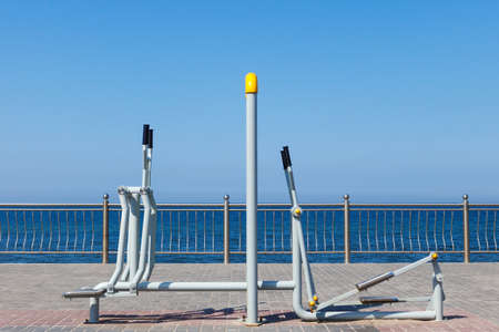simulators: sports simulators on the sea background Stock Photo