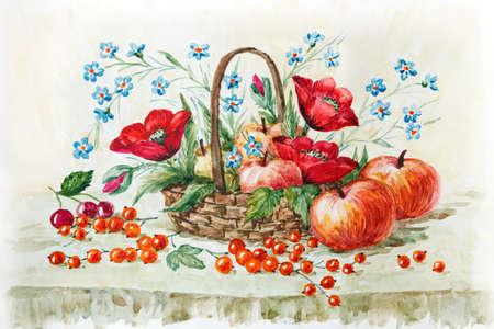 농촌 아직도 인생, 빨간 양 귀 비, 야생 꽃과 사과 바구니에. 수채화 그림. 삽화