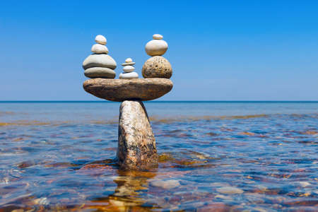 equipoise: Concept of tranquility and balance. Rock zen in the form of scales