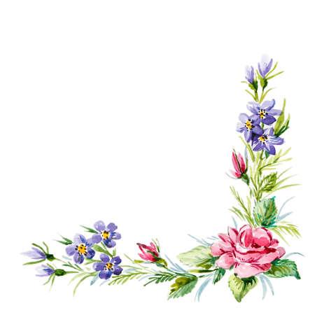赤いバラと野の花のコーナー フレーム。水彩イラスト
