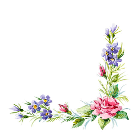 hoek frame van rode rozen en wilde bloemen. waterverfillustratie Stockfoto