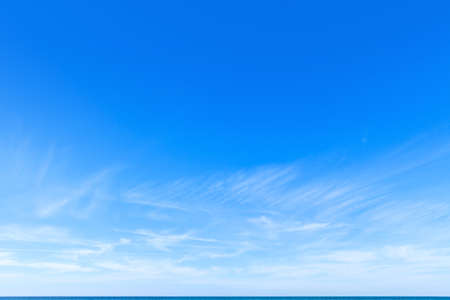beautiful blue sky with white Cirrus clouds Stock Photo
