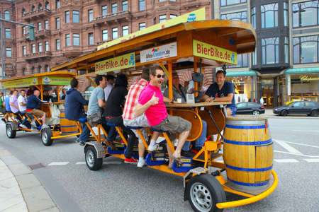 Hamburg, Germany-June 25, 2011:Beer bike on the streets of Hamburg Publikacyjne