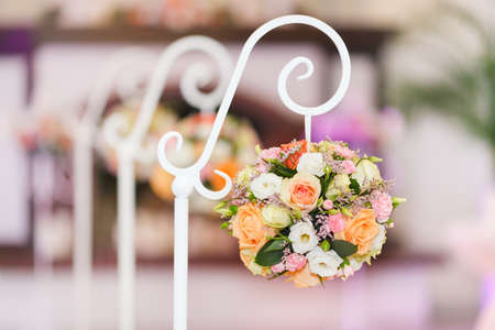 Decoration of the hall for the wedding ceremony. round bouquet of roses