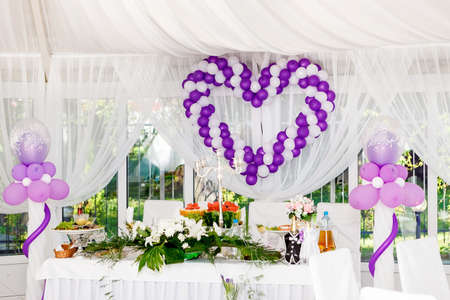 Beautiful Wedding Decorations Heart Of White And Purple Balloons