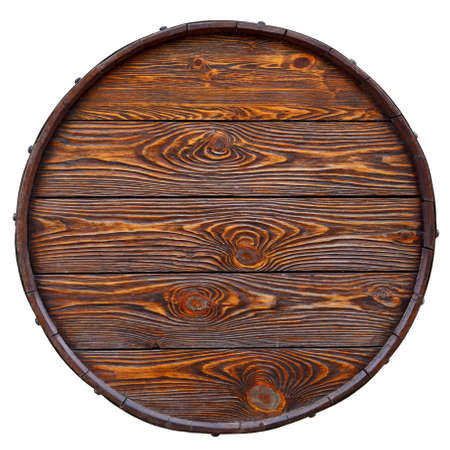 美しい質感と木の作られた古い鏡筒。白で隔離。トップ ビュー