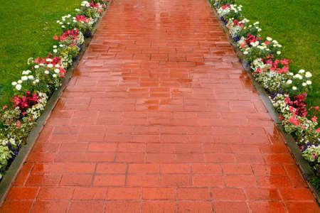 Pavimento bonito do tijolo de clínquer vermelho e marrom. Caminho a pé decorado com flores Foto de archivo