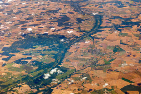 Forests, fields, rivers and cities. Aerial photography of the earth from a height of 10 thousand meters Banco de Imagens