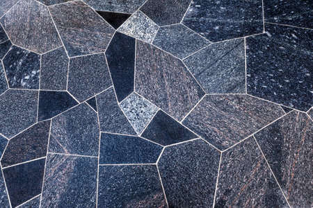 surface (floors) of polished granite slabs of different shapes. Polygonal masonry, top view