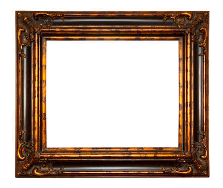 Large, wide, antique, gold frame decorated with beautiful, embossed carving. Isolated on white background