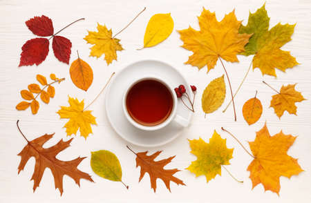 Yellow autumn leaves and a Cup of tea on a white wooden table. Autumn mood concept. Flat lay, top view