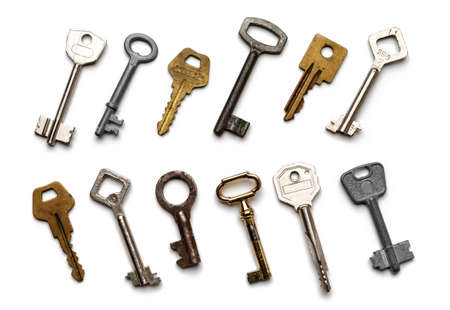 old keys isolated on white background. Flat lay, top view Stock fotó