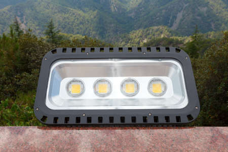 Large, modern led lamp for outdoor illumination of architectural objects, Close up