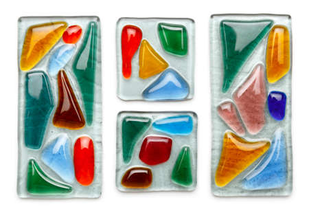 Abstract composition made of colored glass by fusing technology. stained glass. Isolated on white
